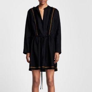 Zara Woman Black Linen Tassel Tunic Dress Sz M